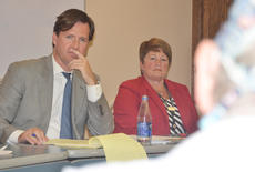 """<div class=""""source"""">Calen McKinney</div><div class=""""image-desc"""">Kentucky Treasurer Adam Edelen, at left, and Taylor Regional Hospital CES Jane Wheatley listen as Dr. Eugene Shively expresses concern about the administrative cost of health care.</div><div class=""""buy-pic""""><a href=""""/photo_select/55267"""">Buy this photo</a></div>"""