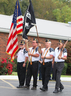 "<div class=""source"">Jeff Moreland</div><div class=""image-desc"">Members of the Edwards-O'Banion American Legion Post 82 Honor Guard are, from left, Mike Daugherty, Gary Cox, Mike Dishman, and Robert Bryant. The honor guard escorted the flag as it was prepared to be retired during Saturday morning's ceremony at the American Legion hall.</div><div class=""buy-pic""><a href=""/photo_select/66178"">Buy this photo</a></div>"