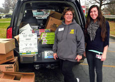 "<div class=""source""></div><div class=""image-desc"">Patti Phillips, at left, of Tim Horton Camp Kentahten Children's Foundation, and Courtney Mills at Taylor County Elementary School unload some food recently donated for local needy families.</div><div class=""buy-pic""></div>"