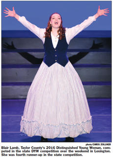 """<div class=""""source"""">CKNJ File</div><div class=""""image-desc"""">Blair Lamb performs at the state Distinguished Young Woman competition in Lexington in January, where she placed fourth overall.</div><div class=""""buy-pic""""><a href=""""/photo_select/66415"""">Buy this photo</a></div>"""