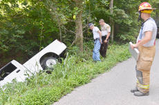 "<div class=""source"">Calen McKinney</div><div class=""image-desc"">From left, Taylor County Fire & Rescue Assistant Chief Randy Bricken Sr., Taylor County Sheriff's Deputy Branden Wilson and Campbellsville Fire & Rescue Captain Chris Taylor investigate the crash.</div><div class=""buy-pic""><a href=""/photo_select/54756"">Buy this photo</a></div>"
