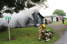 """<div class=""""source"""">Leslie Moore</div><div class=""""image-desc"""">Lightning is the suspected cause of a fire that destroyed this home on Swallows Lane off Elk Horn Loop around 2 p.m. Wednesday, according to Taylor County Fire & Rescue Chief George Wilson. About 25 personnel with three fire trucks worked to contain the blaze. At one point, firefighters were forced to evacuate the structure due to concern that it could collapse. Campbellsville Fire & Rescue, Taylor County Sheriff's Office, and CTCEMS also assisted at the scene. </div><div class=""""buy-pic""""><a href=""""/photo_select/51934"""">Buy this photo</a></div>"""