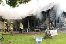"""<div class=""""source"""">Leslie Moore</div><div class=""""image-desc"""">Lightning is the suspected cause of a fire that destroyed this home on Swallows Lane off Elk Horn Loop around 2 p.m. Wednesday, according to Taylor County Fire & Rescue Chief George Wilson. About 25 personnel with three fire trucks worked to contain the blaze. At one point, firefighters were forced to evacuate the structure due to concern that it could collapse. Campbellsville Fire & Rescue, Taylor County Sheriff's Office, and CTCEMS also assisted at the scene. </div><div class=""""buy-pic""""><a href=""""/photo_select/51937"""">Buy this photo</a></div>"""