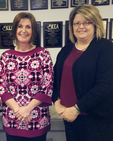 """<div class=""""source""""></div><div class=""""image-desc"""">Two Taylor County School teachers recently won Kentucky Education Association 4th district scholarships. Stacey Thomas, at right, a high school science teacher, received a scholarship toward national board certification. And Melissa Collison, a kindergarten teacher, received a scholarship toward her rank I.</div><div class=""""buy-pic""""></div>"""