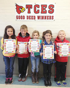 """<div class=""""source""""></div><div class=""""image-desc"""">Taylor County Elementary School recently announced its Good Deed winners. They are, from left, Linda Lou Couch, Layken Lyons, Kimber Gabehart, Chloe Caldwell and Gavin Graybeal.</div><div class=""""buy-pic""""></div>"""