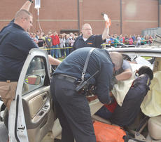 "<div class=""source"">Calen McKinney</div><div class=""image-desc"">Campbellsville/Taylor County EMS personnel work to free Makenzie Hughes, who was a victim in a mock crash at Taylor County High School.</div><div class=""buy-pic""><a href=""/photo_select/51438"">Buy this photo</a></div>"