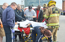 "<div class=""source"">Calen McKinney</div><div class=""image-desc"">Campbellsville/Taylor County EMS personnel provide care for Makenzie Hughes, who was a victim in a mock crash at Taylor County High School.</div><div class=""buy-pic""><a href=""/photo_select/51451"">Buy this photo</a></div>"