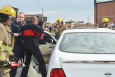 "<div class=""source"">Calen McKinney</div><div class=""image-desc"">Campbellsville/Taylor County EMS personnel work to free Makenzie Hughes, who was a victim in a mock crash at Taylor County High School.</div><div class=""buy-pic""><a href=""/photo_select/51443"">Buy this photo</a></div>"