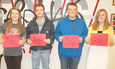 """<div class=""""source""""></div><div class=""""image-desc"""">Taylor County High School recently named its Students of the Week for the week of Feb. 24. They are, from left, freshman Rachel Price, sophomore Cameron Wright, junior Caleb-Michael Benningfield and senior Alexa Parker.</div><div class=""""buy-pic""""></div>"""