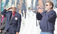 """<div class=""""source"""">Calen McKinney</div><div class=""""image-desc"""">Robert Bryant, state American Legion commander, salutes as Lonnie Malone plays Taps.</div><div class=""""buy-pic""""><a href=""""/photo_select/48343"""">Buy this photo</a></div>"""