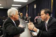"""<div class=""""source"""">Legislative Research Commission</div><div class=""""image-desc"""">Sen. Stephen Meredith, R-Leitchfield (left), speaks with Sen. Max Wise, R-Campbellsville, preceeding the Senate Health and Welfare Committee. Wise is one of 14 Senate Republicans sponsoring Senate Bill 4.</div><div class=""""buy-pic""""></div>"""