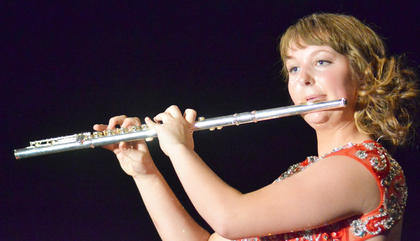 "Abby Hieneman performs ""Lughnasa"" on the flute during the talent competition."