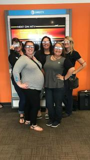 Submitted from the Facebook profile of Jacqueline Denise Curtsinger The girls at AT&T were ready to catch a glimpse of the amazing view!
