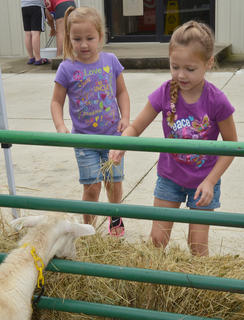 Jocelyn Begley, 5, at left, and Kileigh Begley, 6, of Campbellsville, feed a goat at the petting zoo.