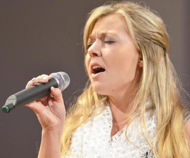 Mary Hodgen of Springfield sings with 4 Given. Hodgen is a student at Campbellsville University.