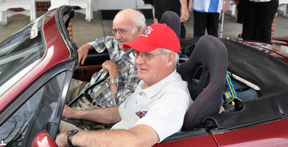 Tommy Barnett got to go for a ride in Bob Cutler's 1990 Mazda Miata at Bluegrass Way Assisted Living prom on Saturday.