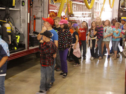 Campbellsville Elementary School students take a tour of the Campbellsville Fire Department.