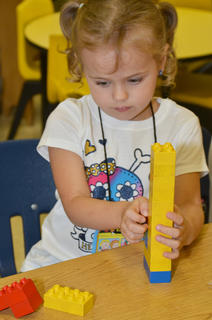 Amaya Anguiano plays with blocks in Linda Ward's kindergarten class at CES.