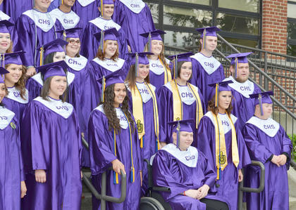 Forty-four students graduated from Campbellsville High School on Saturday. Before the ceremony, the graduates gathered for a final class photo together.