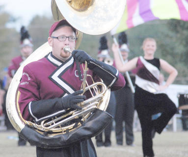 Thirteen area bands competed at the annual Taylor County Marching Invitational on Saturday at Taylor County High School. Campbellsville University's Marching Tiger Band performed in exhibition. CU sophomore Lucas Milby of Leitchfield plays the sousaphone.