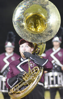 Sousaphone player Lucas Milby of Leitchfield plays with the CU marching band.