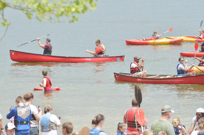 Many children took advantage of free canoe rides at Camp Kentahten on Saturday.