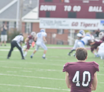 CU football player Casey Clarke watches as his team plays against Lindsey Wilson College. The Tigers won the game 28-23.