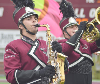 Daniel Beams of Campbellsville plays the alto saxophone with the CU Tiger Marching Band during Saturday&#039;s Homecoming football half-time show. The band is celebrating its 20th anniversary.