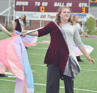 Stacey Hurt of Cadiz performs with the CU Tiger Marching Band during Saturday's Homecoming half-time show. The band is celebrating its 20th anniversary.