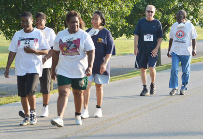 Participants walk during the 2k run/walk.
