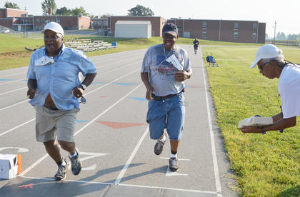 They got together to talk about old times and make new memories. The annual Durham High School reunion was Friday, Saturday and Sunday at the former Durham campus, which is now Campbellsville Elementary School.  Above, Randy Taylor, at left, and Larry Williams, both of Campbellsville, compete against each other in the first Durham 2K run/walk.