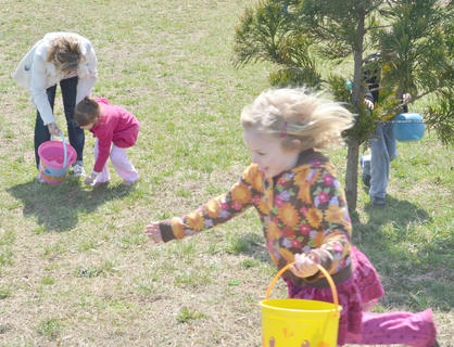 Campbellsville Baptist Church hosted a community-wide Easter egg hunt on Saturday, with hundreds of eggs hidden at five locations. Area children hunted eggs at Campbellsville and Taylor County elementary schools, Ray Street, Holly Brook Subdivision and at Miller Park Walking Track. Before searching for eggs, the children played games and learned about the meaning of Easter. Children scramble to find as many Easter eggs as they can at Miller Parking Walking Track.