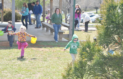 Children scramble to find as many Easter eggs as they can at Miller Parking Walking Track. Many were hidden in this tree.