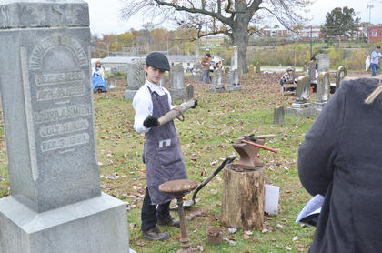 Cass Kidwell portrays the ghost of blacksmith Hamilton Smith, who died in 1896.