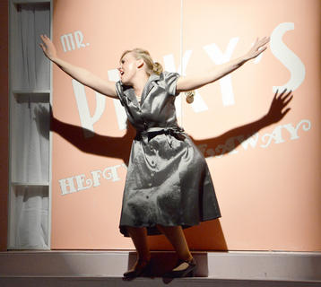 Lacy Mudd of Campbellsville sings 'Velma's Revenge' during the show. She is the mother of Velma Von Tussle.