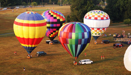 A view from above shows some of the hot air balloons taking part in the annual liftoff at Miller Park.