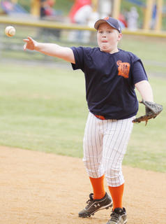Ryan Jeffries of the Tigers throws to first base to get an out as his team takes on the Rangers in Minor League play at Miller Park.