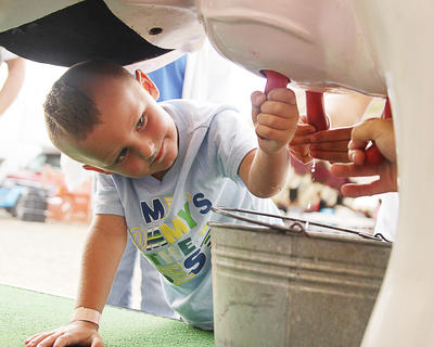 Jacob Johnson, 4, of Campbellsville, tries his hand at getting some milk from Kentucky Kate the Milking Cow.