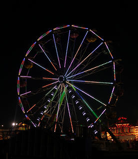 Fairgoers enjoy a ride on the Ferris Wheel as part of the Myers International Midway.