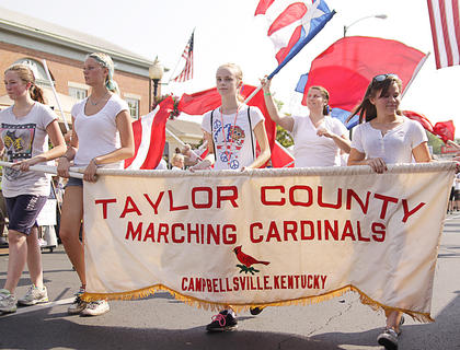 The Taylor County Marching Cardinal Band was one of many groups to take part in the Fourth of July parade in Campbellsville.
