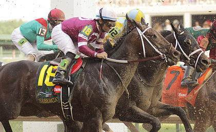 Sabercat (12) moves up on the field during the Kentucky Derby Saturday.