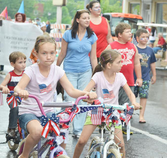 Children decorated their bicycles for the annual Children's Parade on Wednesday night.