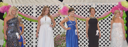 Five Campbellsville residents compete for the first ever Miss Taylor County title at the fair. Kate Gosser, fourth from left, won the crown.