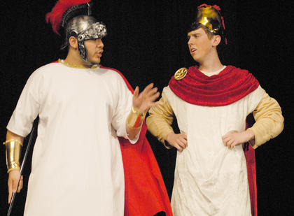 Odysseus, portrayed by Ozzie Delgado, at left, and Ajax, played by Jacob Lee, plan how they will get home after being gone for years.
