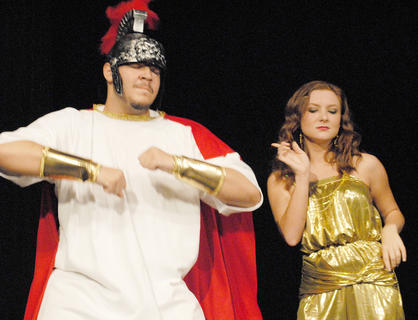 Odysseus, portrayed by Ozzie Delgado, and Circe, played by Kathryn Hieneman, dance at a party that lasted for years and kept Odysseus away from home.