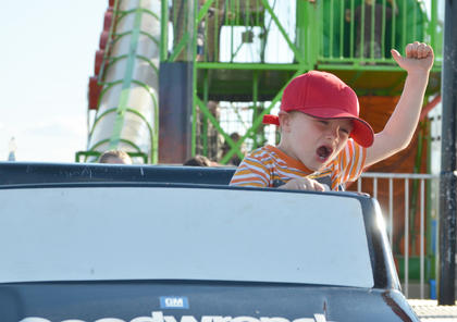 Many children rode the Speedway ride at the fair.
