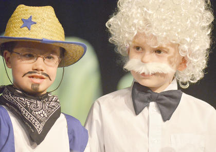 Isaac Rogers, at left, portrays Buffalo Bill and Billy Mattingly is Mark Twain.