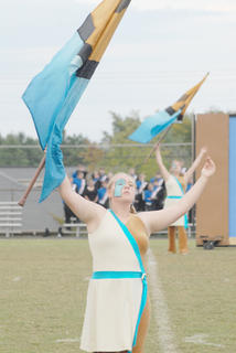 Thirteen area bands competed at the annual Taylor County Marching Invitational on Saturday at Taylor County High School. Brookylan Cox is a member of the TCHS color guard.
