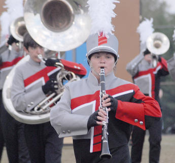 Thirteen area bands competed at the annual Taylor County Marching Invitational on Saturday at Taylor County High School. Brianna Handy plays clarinet for the TCHS band.