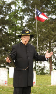 Paul Patton, former Taylor County judge/executive, portrays a Civil War chaplain at the Confederate cemetery near Tebbs Bend Battlefield on Friday, April 20. Patton and others gave first-person presentations to students from the Campbellsville and Taylor County school districts.